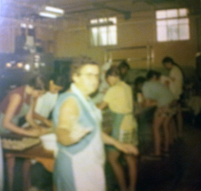 Working hard to get ready for Donation Day in Aug. 1970 with Mrs. Kurk, Mary Jeffery in brown top, Ada Velez next to Mary, Barbara Trush in yellow top, (in the back right), Linda Jeffery in blue top and Kathy Jeffery next to Linda and I think Corrine Kline with long ponytail. Sister Ernelda of course is supervising the girls with her head behind Barbara Trush.